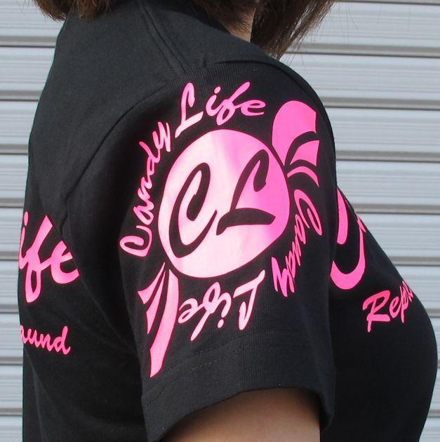 画像2: CANDYLIFE 筆記体ロゴTシャツ(蛍光ピンク)