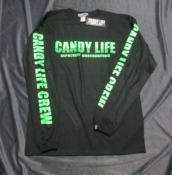 画像1: CANDY LIFE 蛍光ロンT(緑)