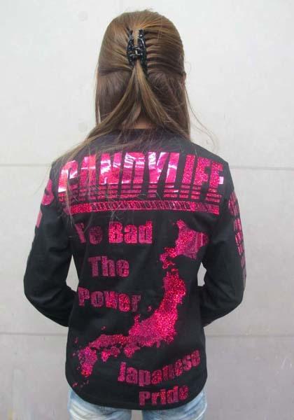 画像2: CANDYLIFE JAPANESEPRIDE ホログラムロンT (黒xピンク)