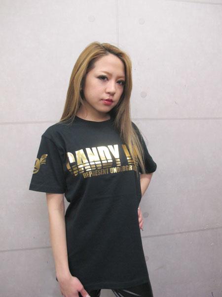 画像1: CANDYLIFE ロゴTシャツ(金)