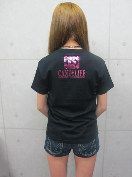 画像3: CANDYLIFE CクロスTシャツ(黒xピンク)