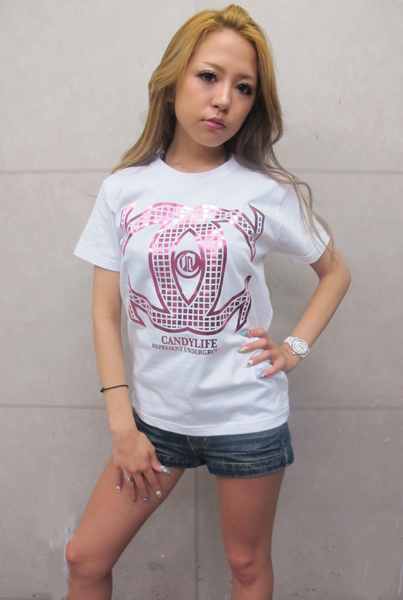 画像1: CANDYLIFE CクロスTシャツ(白xピンク)