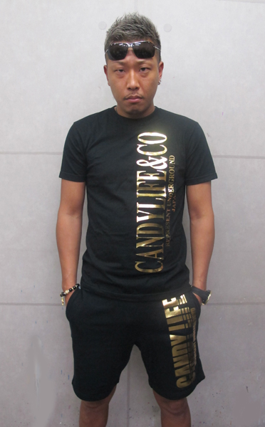 画像1: CANDYLIFE COタテロゴTシャツ(黒x金)