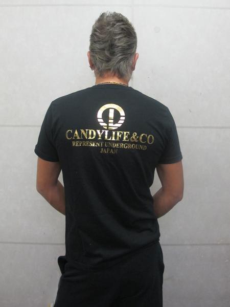 画像2: CANDYLIFE COタテロゴTシャツ(黒x金)
