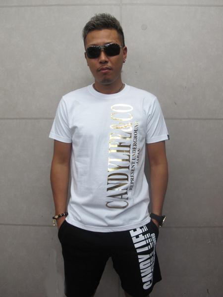 画像1: CANDYLIFE COタテロゴTシャツ(白x金)