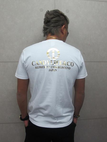 画像2: CANDYLIFE COタテロゴTシャツ(白x金)