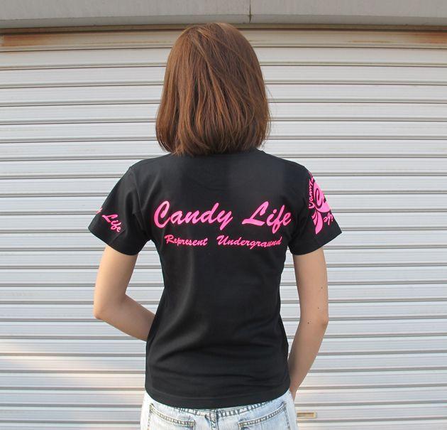 画像3: CANDYLIFE 筆記体ロゴTシャツ(蛍光ピンク)