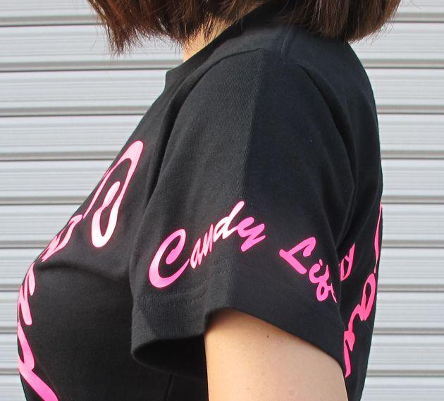画像2: CANDYLIFE 筆記体タテロゴTシャツ(蛍光ピンク)