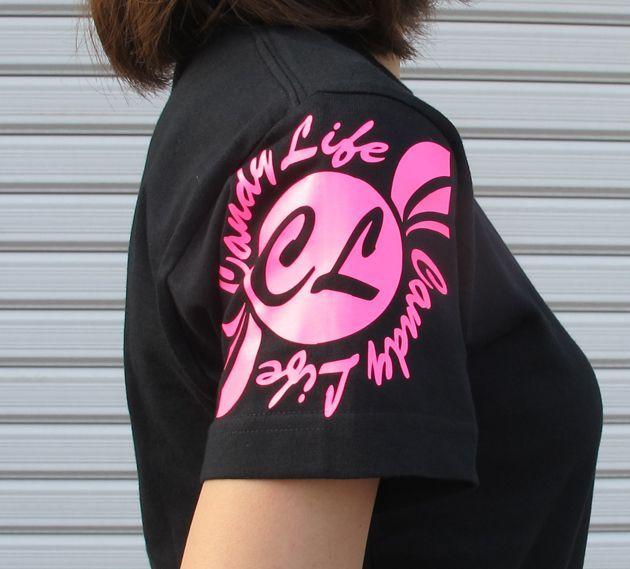 画像3: CANDYLIFE 筆記体タテロゴTシャツ(蛍光ピンク)