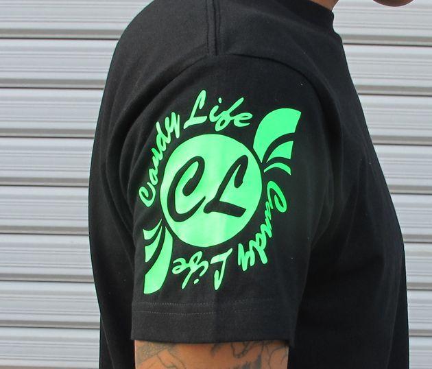 画像3: CANDYLIFE 筆記体タテロゴTシャツ(蛍光グリーン)