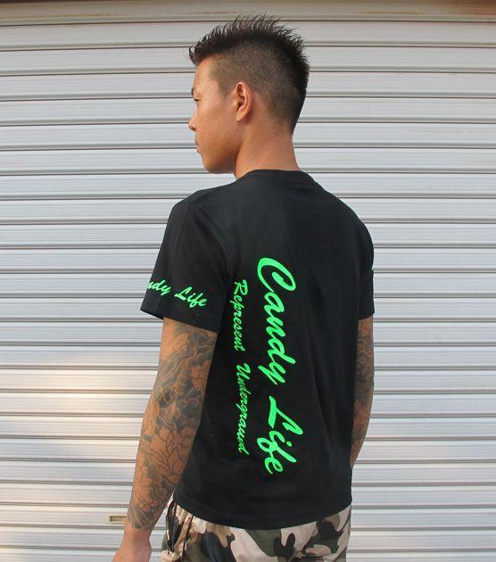 画像4: CANDYLIFE 筆記体タテロゴTシャツ(蛍光グリーン)