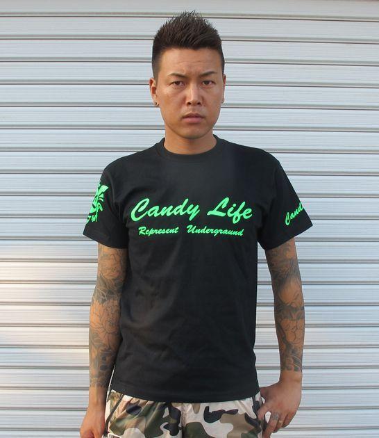 画像1: CANDYLIFE 筆記体ロゴTシャツ(蛍光グリーン)