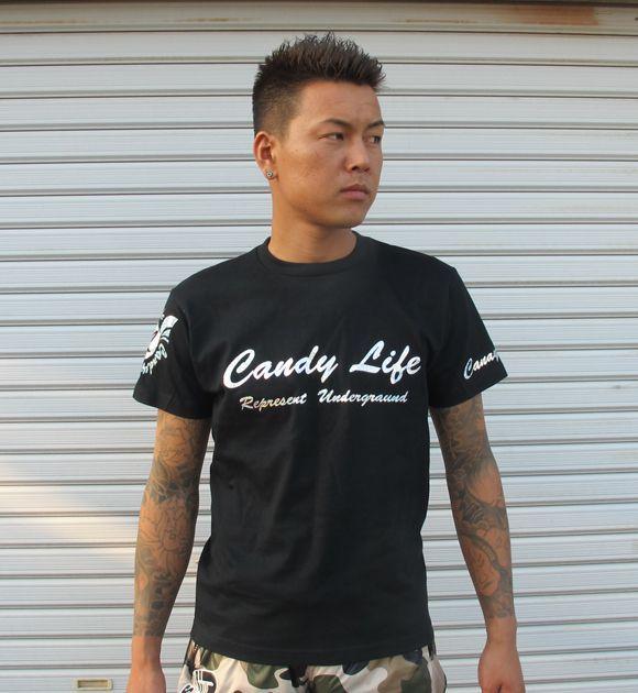 画像1: CANDYLIFE 筆記体ロゴTシャツ(シルバー)